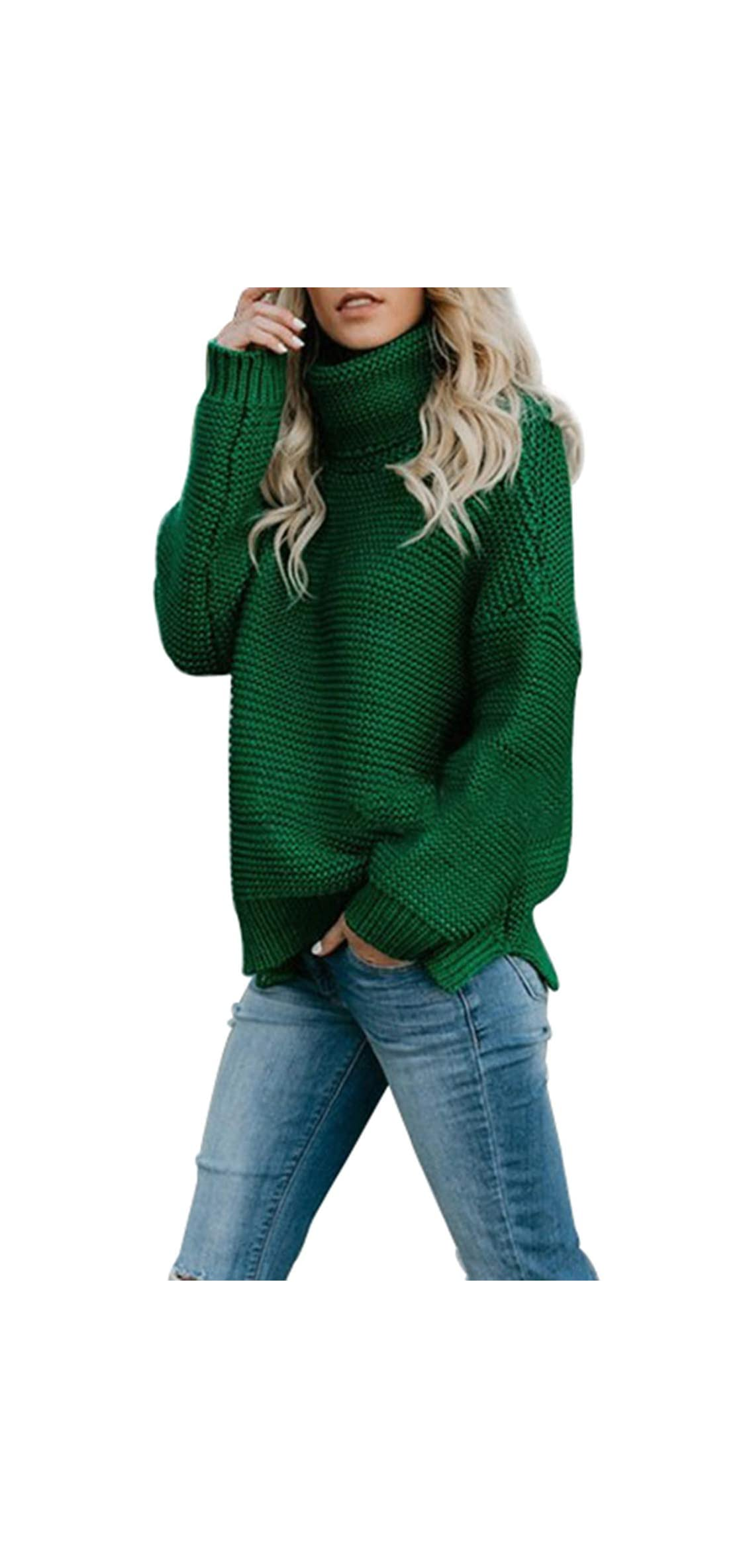 Chunky Turtleneck Sweater Women Long Sleeve Knit Jumper
