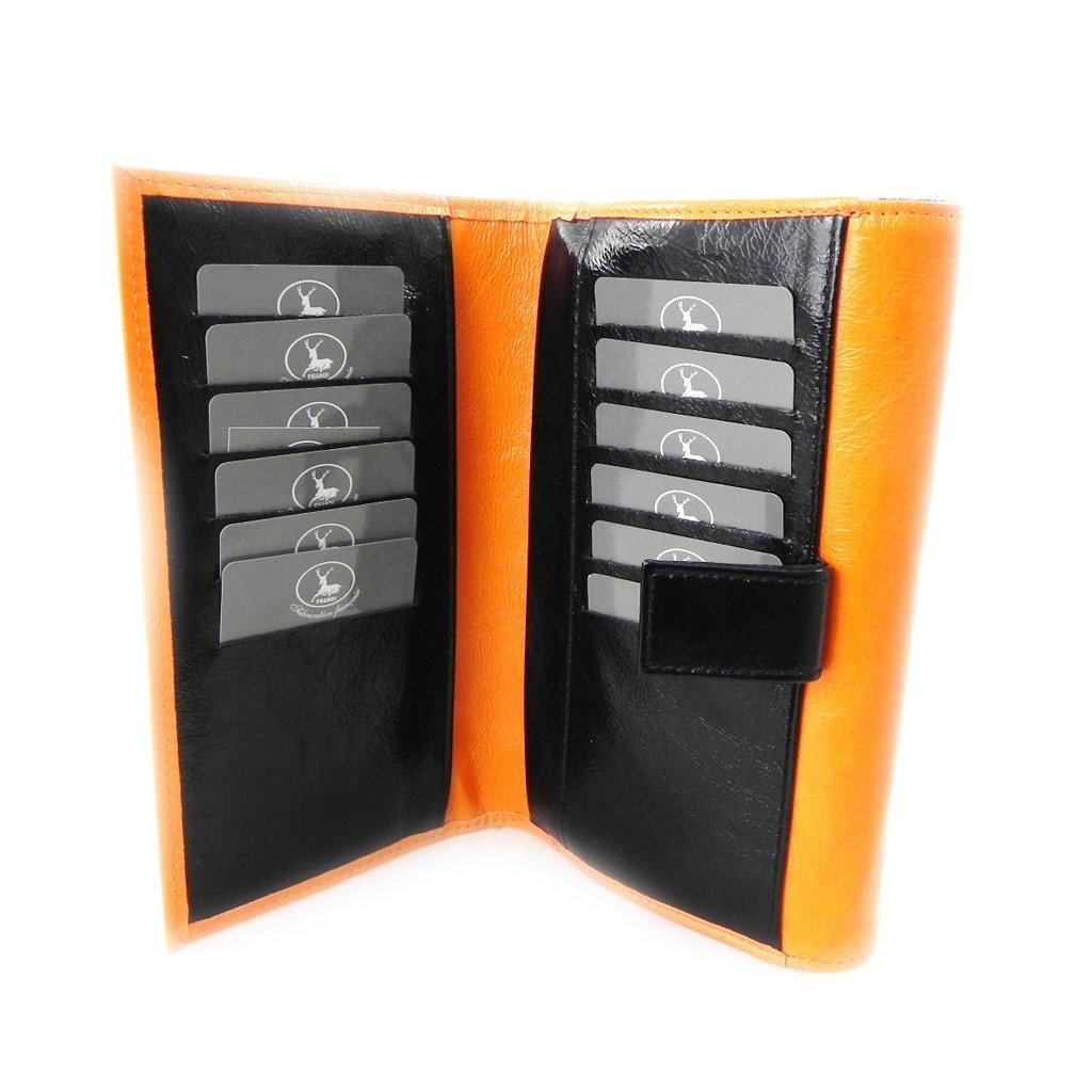 Wallet + checkbook holder leather ''Frandi'' orange black lacquer. by Les Tresors De Lily (Image #6)