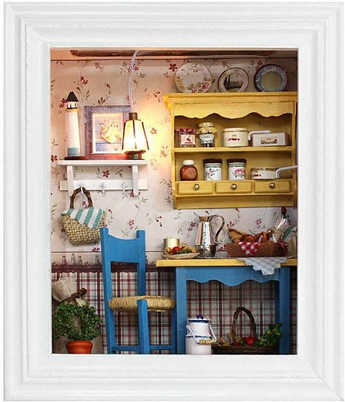 DIY Dollhouse Miniature Kit Photo Frame, Wooden Mini Dollhouse Model with Furniture and LED Light, Small Size Decoration for Home Birthday Gifts Kids Toy (01)