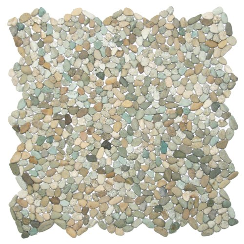 Mini Sea Green Pebble Tile 1 sq.ft. (Mesh Mounted)