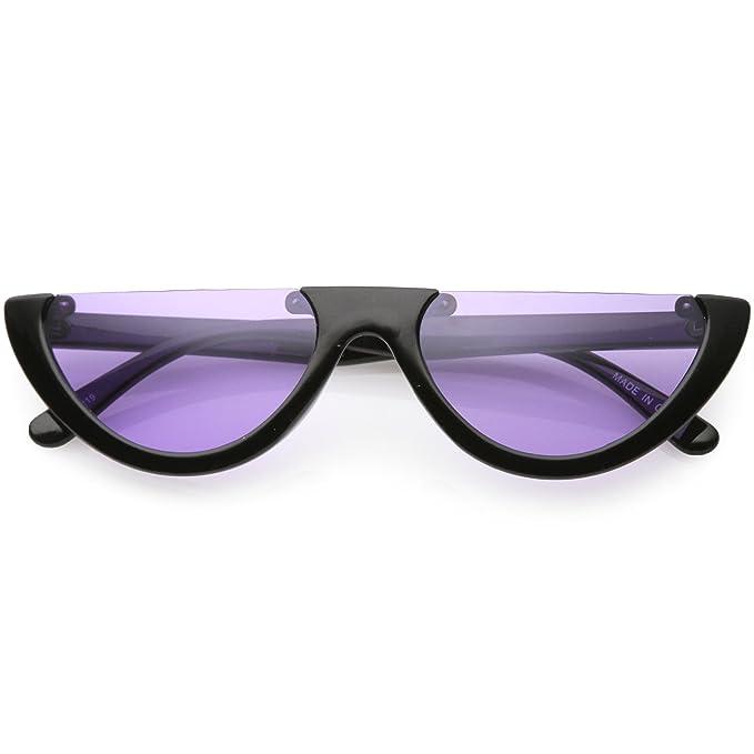 6ab776e4036 sunglassLA - Extreme Semi Rimless Cat Eye Sunglasses Color Tinted Neutral  Colored Lens 55mm (Black