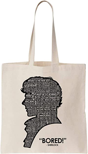Sherlock Holmes Logo Words Algodón Bag Tote Bag: Amazon.es ...
