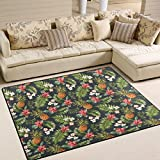 ALAZA Floral Print Pineapple Fruit Tropical Area Rug for Living Room Bedroom 5'3 x 4′ Review