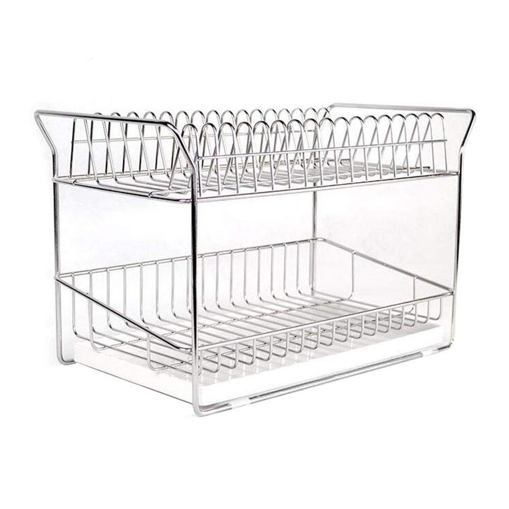 食器棚排水ラックキッチン棚304ステンレス鋼2層フック付き B07SWTHLZF