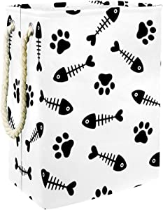 Unicey Cat Paw Fish Bone Dog Salmon Large Storage Bin Foldable Laundry Hamper for Nursery Hamper and Kids Room