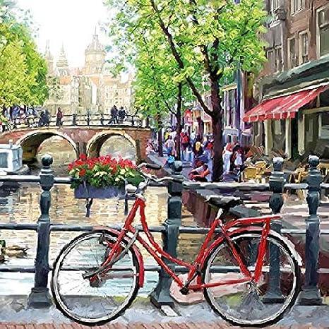 Amsterdam Canal Ciudad Roja bicicleta – Servilletas 33 x 33 cm: Amazon.es: Salud y cuidado personal
