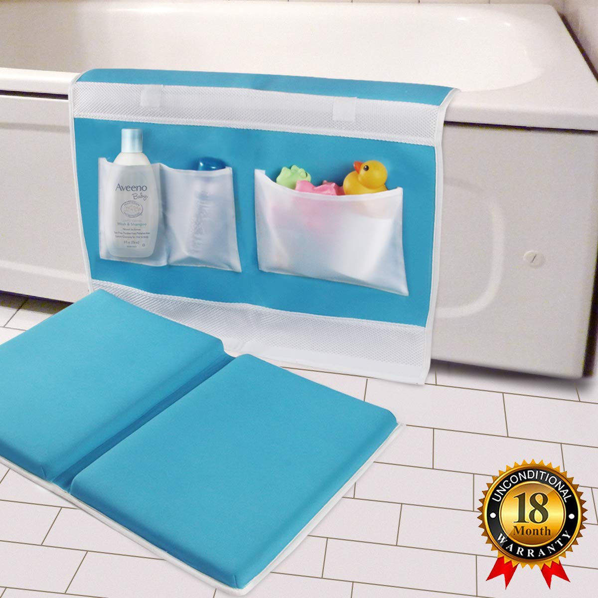 Bath Kneeler and Elbow Rest Bathtub Kneeling Pad with Toy Organizer - Baby Kneeling Mat for Baby Bath Time, Garden Work, Exercise - Detachable and Foldable Child Bath Tub Padding for Parents - Blue TQS