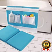 Bath Kneeler and Elbow Rest Bathtub Kneeling Pad with Toy Organizer - Baby Kneeling Mat for Baby Bath Time, Garden Work, Exercise - Detachable and Foldable Child Bath Tub Padding for Parents - Blue