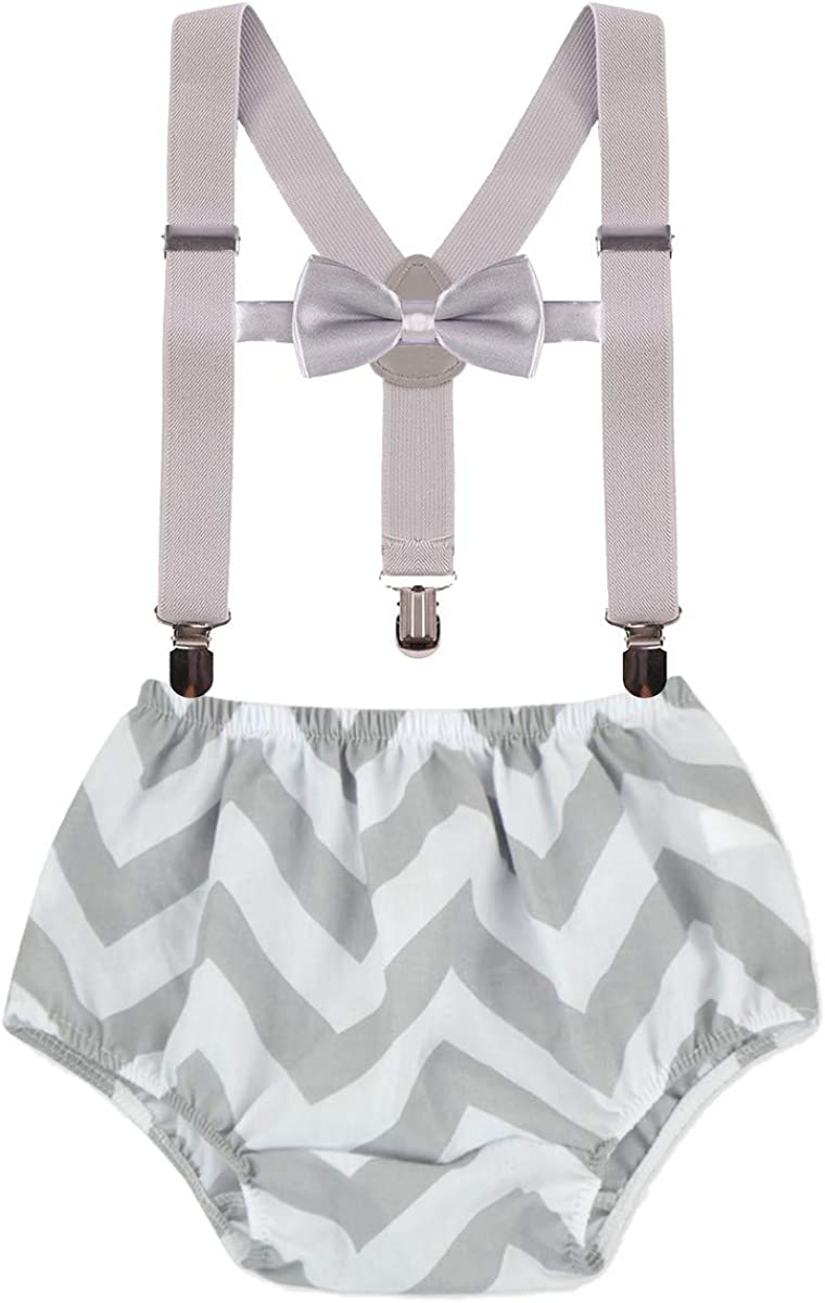 IZKIZF Baby 1st 2nd Birthday Cake Smash Outfits Diaper Cover Suspenders Bow Tie