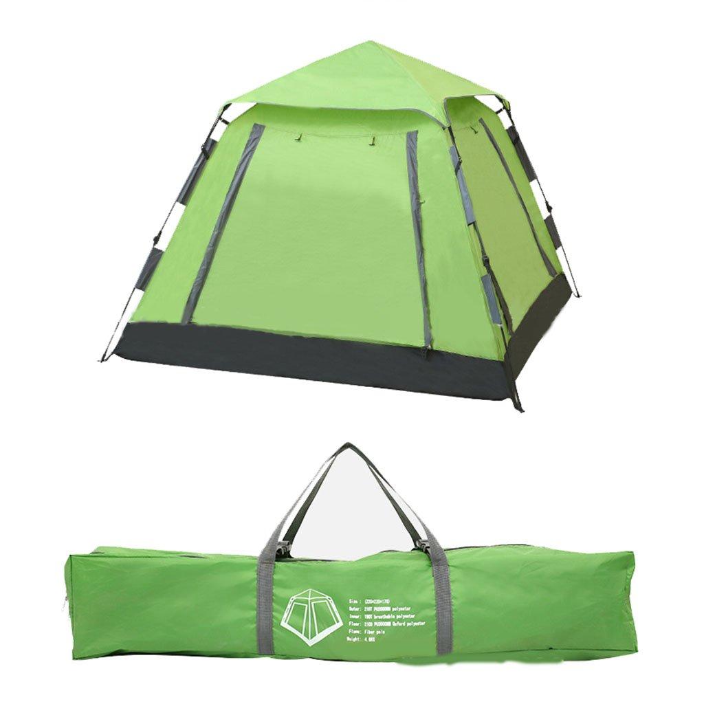 キャンプテント油圧自動ダブルテント4-5人の屋外製品、建物なしの防水(サイズ:220 * 220 * 170センチメートル)  Green B07CR5DB6F