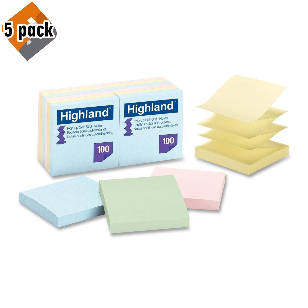 Highland 6549-PUA Pop-up Notes, 3 x 3 Inches, Assorted Pastel Colors, 12 Pack - Pack of 5