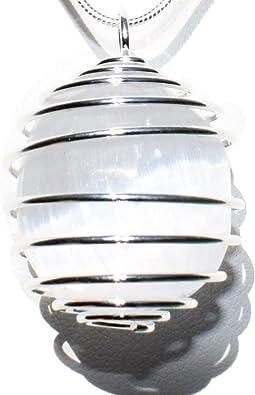Silver Selenite Necklace Selenite Pendant Selenite Jewelry White Stone Necklace Silver White Stone Pendant White Stone Jewelry White Crystal
