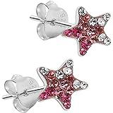 1 paire de boucles d'oreilleSoul-Cats ® 925 étoiles en argent sterling Strass paillettes enfants