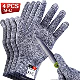 4 PCS Cut Resistant Gloves Food Grade Level 5 Protection for Kitchen, Upgrade Safety Anti Cutting Gloves for Meat Cutting, Wood Carving, Mandolin Slicing and More, (M-L), THOMEN