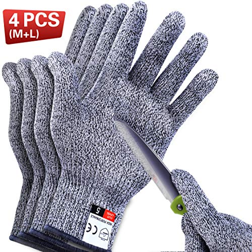4 PCS Cut Resistant Gloves Food Grade Level 5 Protection for Kitchen, Upgrade...
