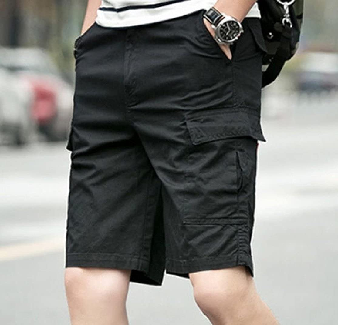 YUNY Mens Big and Tall Straight-Fit Thin Solid Cargo Half Pants Black 3XL