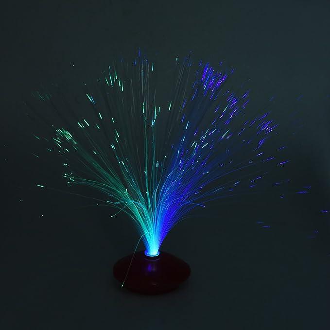 SODIAL(R) Lampara de Noche LED Fibra Optica Color Cambiante Multicolor Base Azul para Bar KTV