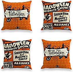 TOOL GADGET 4-Pack Happy Halloween Decorative Throw Pillow Case Cushion Cover 18x18, Spider Ghost Moon Bat Pumpkin, Cotton Linen