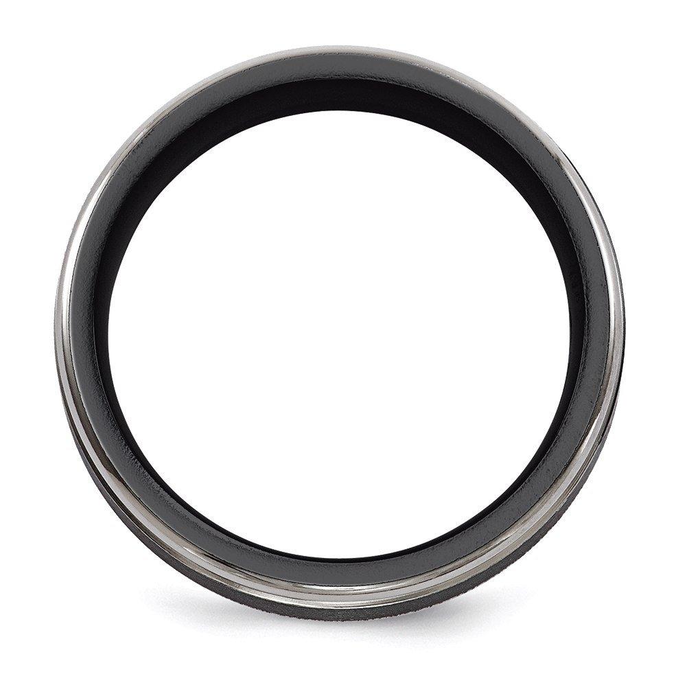 Edward Mirell Black TI Traction Finish w//Polished Edge 6.5mm Band