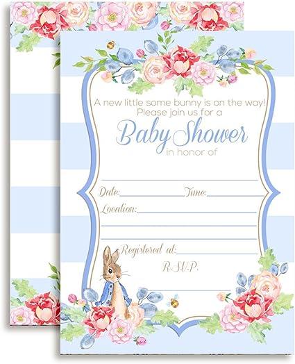 Amanda Creation Little Rabbit Girl Baby Shower Fill in Style Invitations Set of 20 Including envelopes