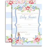Little Rabbit Boy Baby Shower Fill In Style Invitations. Set Of 10  Including Envelopes