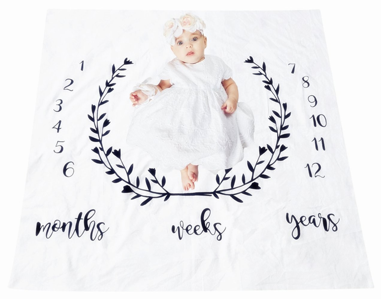 Baby Newborn Monthly Milestone Blanket, Cotton Photo Props Shoots Backdrop for Boys Girls, Perfect Present for Expectant Moms SEALEN Baby Monthly Blanket Style B