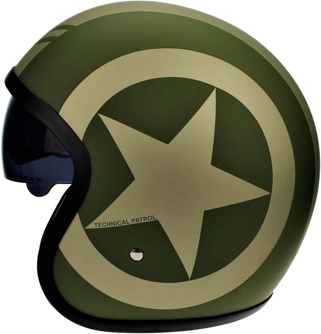 X-Small Viper RS-V06 Open Face Jet Helmet Army Matt Green Star