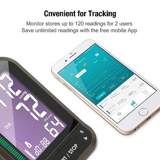 1byone Tensiómetros de brazo eléctricos inalámbrica con App para Android e IOS, Pantalla LCD , FDA y CE,almacena hasta 120 lecturas para 2 ...