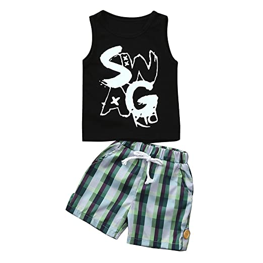 22bf7fdb6b8f Amazon.com  Lurryly 2Pcs Toddler Kids Baby Boys Letter Tops Vest+Plaid Shorts  Clothes Set 0-24 M  Clothing