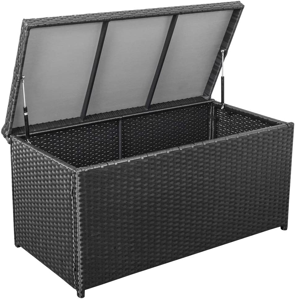 Sundale Outdoor Deluxe Wicker Deck Storage Box All Weather Patio Garden Furniture Patio Container, Black
