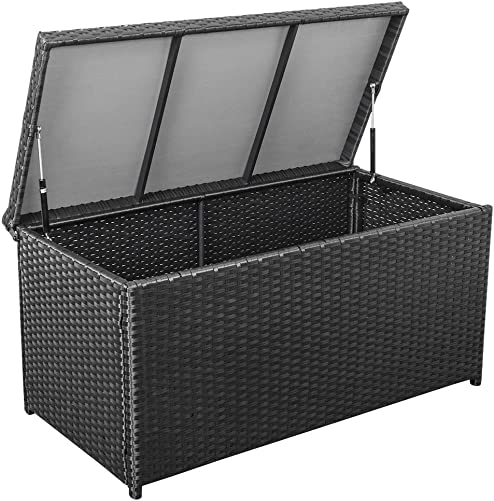Sundale Outdoor Deluxe Wicker Deck Storage Box All Weather Patio Garden Furniture Patio Container, Black