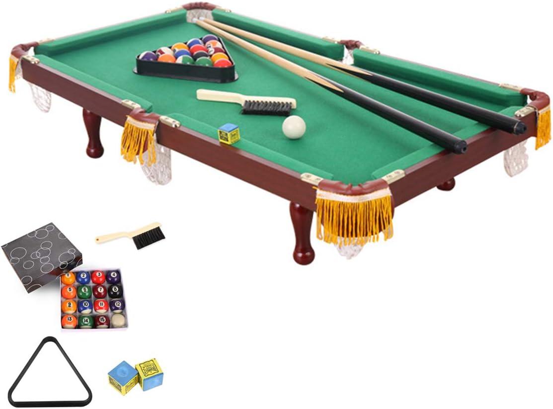 DOLA Mesa de Billar de hogar para niños, Mini Interior Juegos Familiares Mesa de Billar con 2 Tacos, 1 triángulo, 1 Cepillo, 1 Juego de Bolas y 2 tizas, Gran Regalo para
