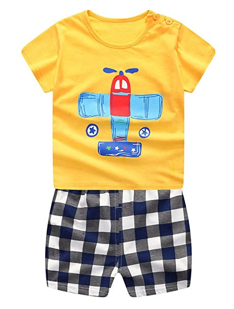 ARAUS Bebé Traje de Dormir Conjuntos de Camiseta Manga Corta + Pantalón Corta de Raya Mono Mameluco Pelele Dibujo Animado Niños Verano, 6 Meses-3 Años: ...