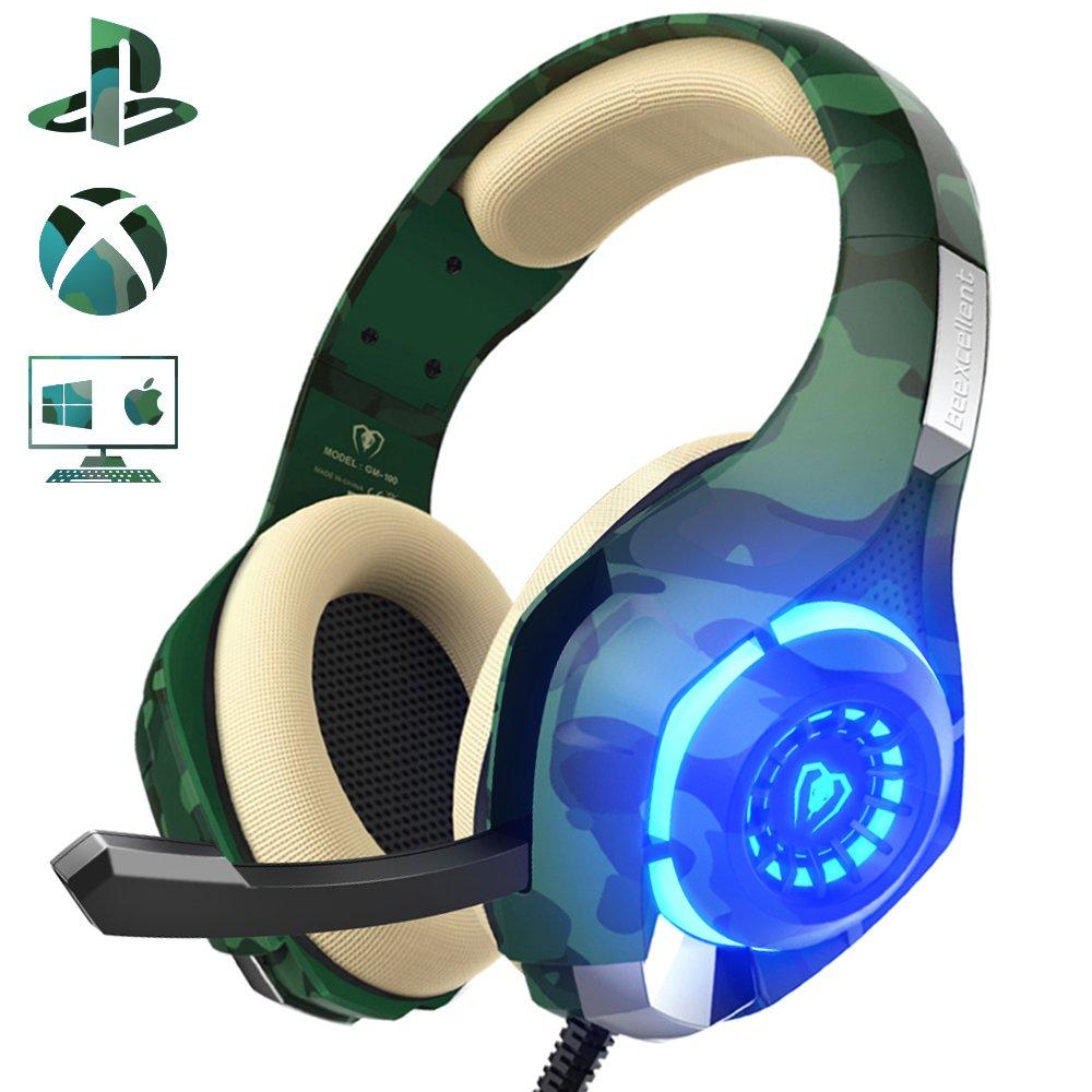 Cascos Gaming con Micrófono, Beexcellent 2017 Nuevo Auriculares Gamer Bajo Profundo de Diadema Cerrados Auricular Reducción de Ruido para PC PS4 Xbox one(Tiene uno adaptador)
