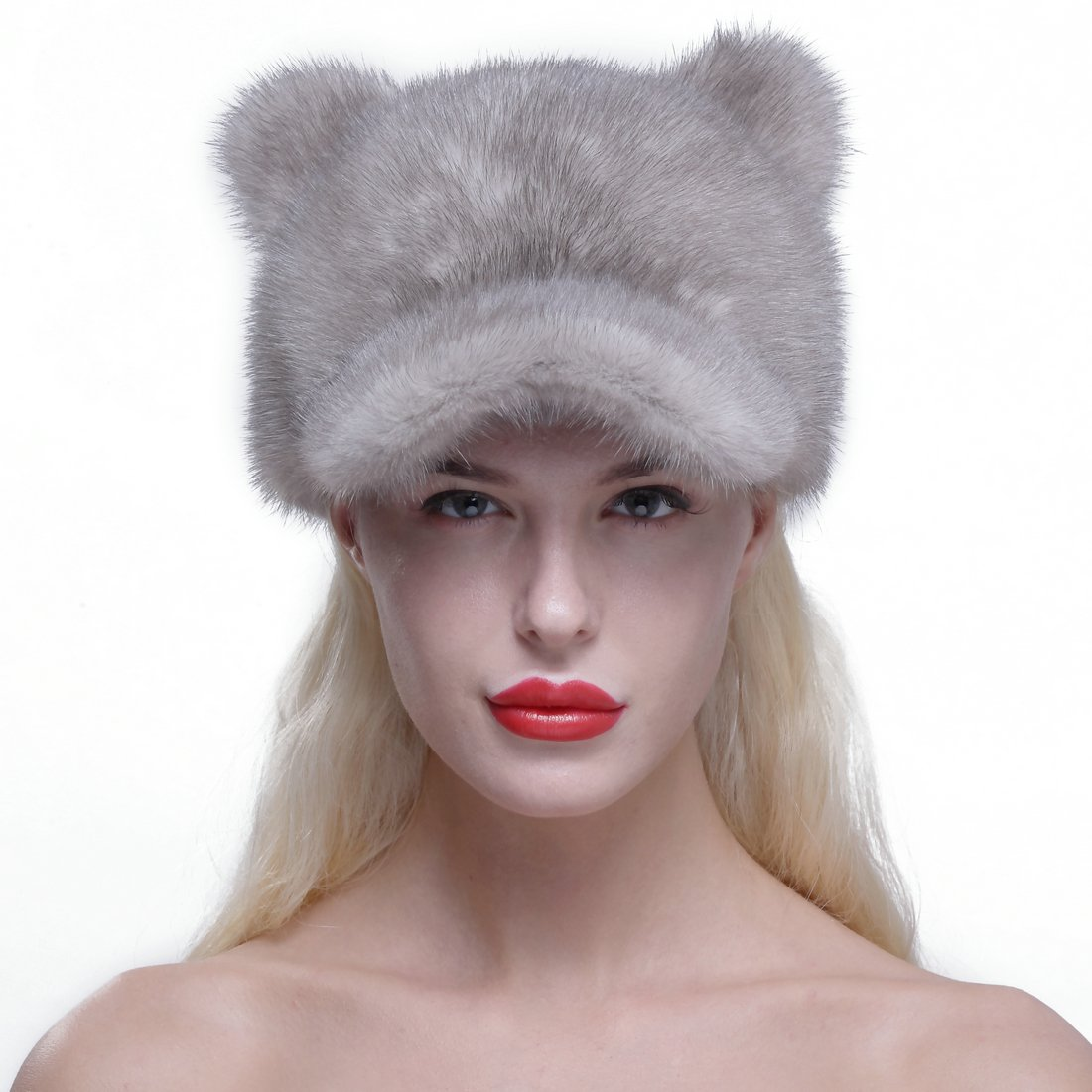 URSFUR Genuine Mink Fur Baseball Cap Soft Cat Ears Women Winter Hat Gray