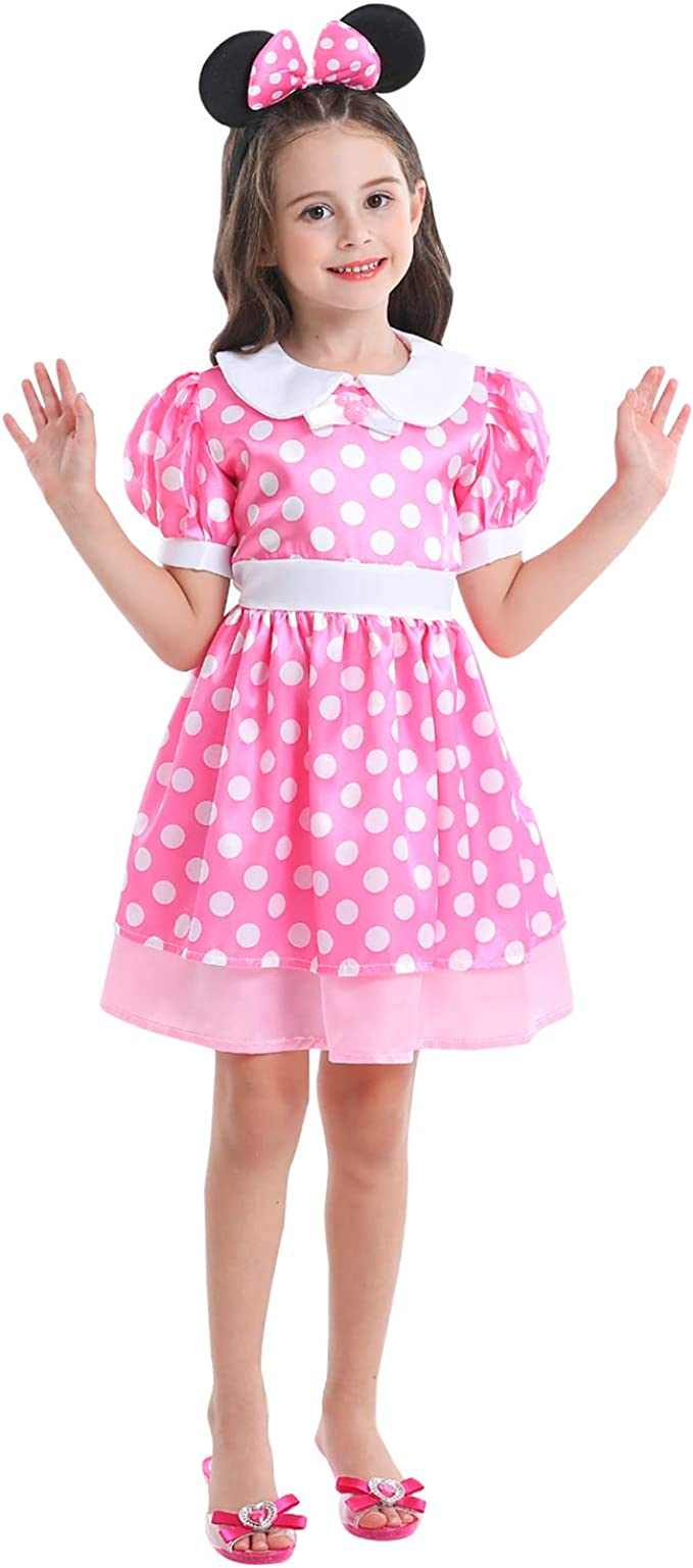 VGOFUN Girls Dress up Costume Dress Role Play Set for Little Girls Toddler Age 3-6 (Girls Dress up Dress-Pink)