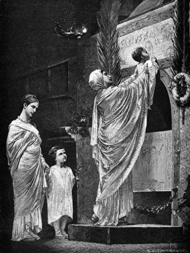 Rome Christian Widow Nchristian Widow And Her Child Honor Her Martyred Husband In The Catacombs Of Rome Line Engraving 19Th Century Poster Print by (24 x 36)
