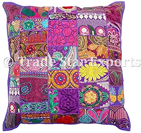 Large Patchwork Cushion Cover 40x40 Indian Vintage Pillow Case Best Indian Style Decorative Pillows
