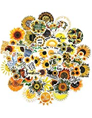 SAVITA 50pcs Sunflower Stickers PVC Waterproof, Durable Sticker Sunflower Theme Self-Adhesive Sticker for Laptop, Envelop, Car, Luggage, Cellphone Decorations, Party Favors (50 Different Patterns)