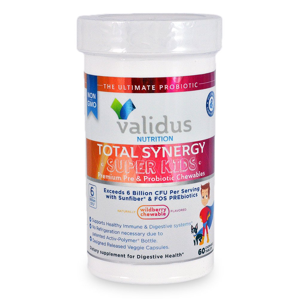 Validus Nutrition Gluten-Free Dairy-Free Non GMO 6B CFUs Total Synergy Super Kids Prebiotic and Probiotic Chewables, 60 Day Supply