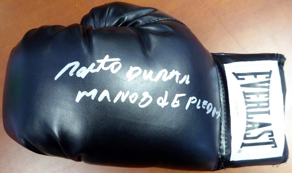 """Roberto Duran Autographed Black Everlast Boxing Glove LH""""Manos De Piedra"""" Stock #113680 PSA/DNA Certified"""