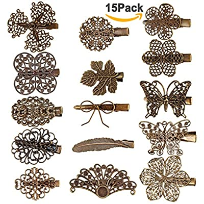 Hapdoo 15 Pack Vintage Hair Clip Leaf Flower Butterfly Shape Hair Pins Headwear Lady Hair Accessories