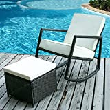 Merax Rattan Rocker Chair Patio Wicker Rocking Armed Chair Outdoor Garden Lounge Chair with Cushioned Ottoman (Cushion Beige)