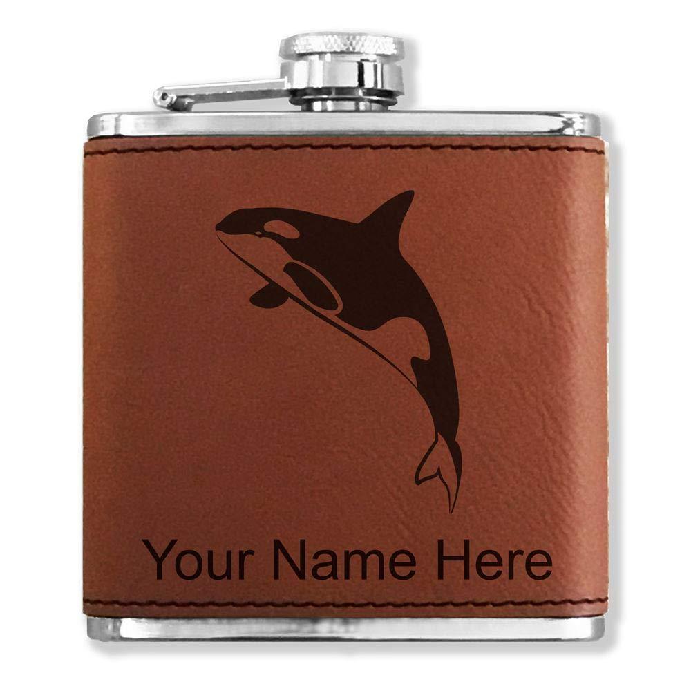 2019年最新海外 フェイクレザーフラスコ B01N5OUX17 Killer – Killer Whale Whale – カスタマイズ彫刻Included (ダークブラウン) B01N5OUX17, ミシン一番:649e270b --- newsdarpan.in