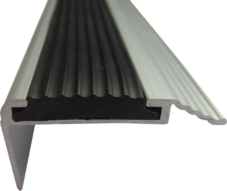 B-Ware 20 mm x 40 mm x 80 cm Silber verschiedene Gr/ö/ßen Treppenkantenschutz Treppenleiste Treppenwinkel Stufenleiste Treppenabschluss