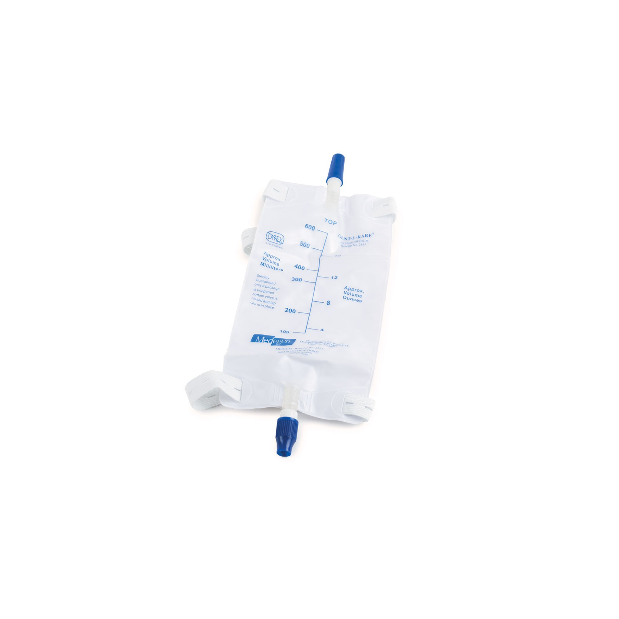 Medegen Medical 02555 Urinary Drainage and Leg Bag, 600 mL, Medium (Pack of 50)