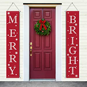 ERKOON Christmas Banner Decorations Merry Bright Sign, for Outdoor Indoor Red Christmas Door Decor Hanging Banners for Home Wall Door Apartment or home Party Decorations