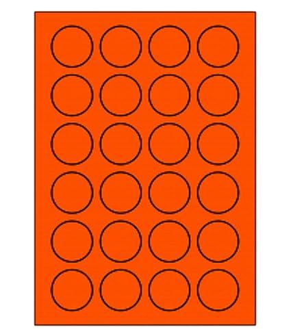 200 hoja redondo anaranjado fluorescente hojas de etiquetas de 40 ...