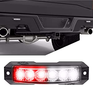 Z TIR 180 Degree LED Surface Mount Emergency Strobe Lights Warning Light-Head - Ultra Slim Police Grille Light - Red/Clear