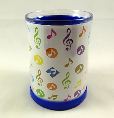 Music Notes Round Plastic Pen Holder